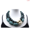 Sonata kavicsos rövid nyaklánc zöld kövekkel