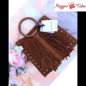 Marlon rojtokkal díszített női bőr kézitáska taupe barna szín