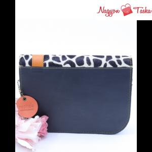 Kézműves táskák kollekció pink kézitáskája, a hátulja elegáns fekete bőrrel készült.