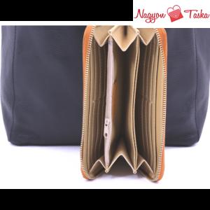 2 részes szett - fekete női bőr válltáska, világos barna pénztárca