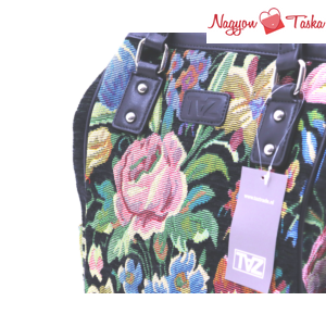 Vidám színes hátizsák gobelin és virág mintával fekete színnel