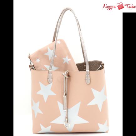 Kris-Ana London kifordítható női táska csillag mintával púder rózsaszín vagy rózsaarany színben