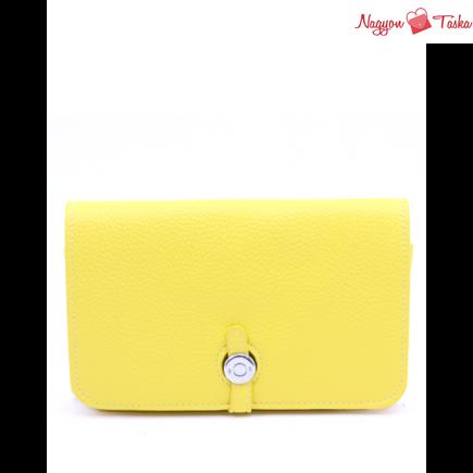 Modern kézi tárca telefon, irat/és pénz tartó citromsárga színben