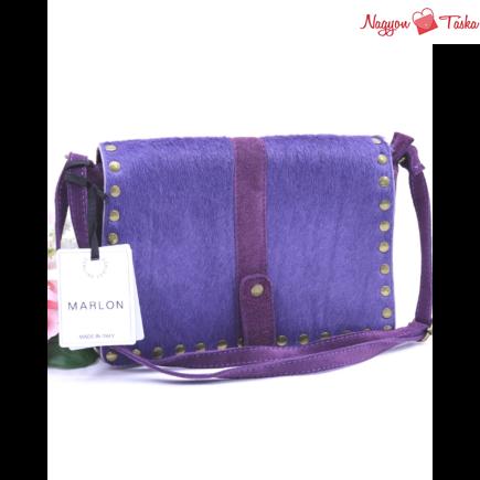 Marlon divatos bőr válltáska szegecsekkel levendula lila