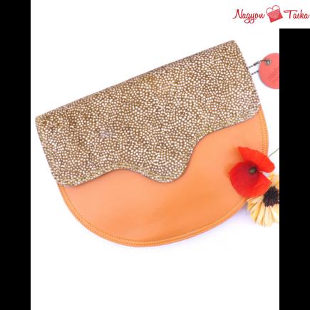 Nephele bags kézműves kollekció Edna bőrből készült kézitáska narancs és barna színnel.