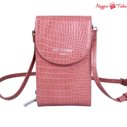 Red Cuckoo London Crocodile Cross Body Pouch Pink