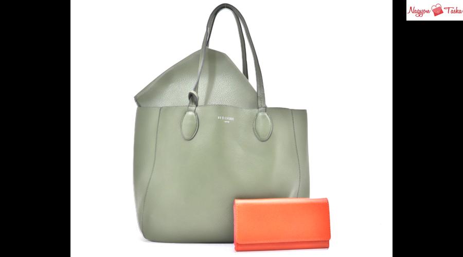 2 részes szett - Zöld női válltáska és narancsszínű bőr pénztárca ... ed777de8b2